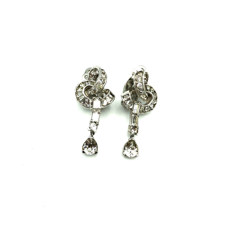 Silver Diamante Rhinestone Dangle Vintage Clip-On Earrings-Sustainable Fashion with Vintage Style-Trending Designer Fashion-24 Wishes