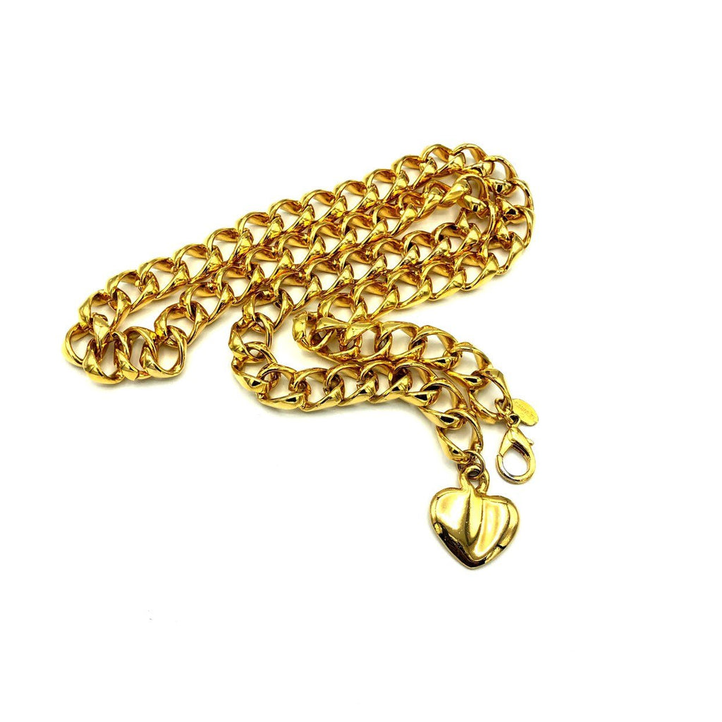 Carolee Gold Chain Heart Charm Vintage Belt