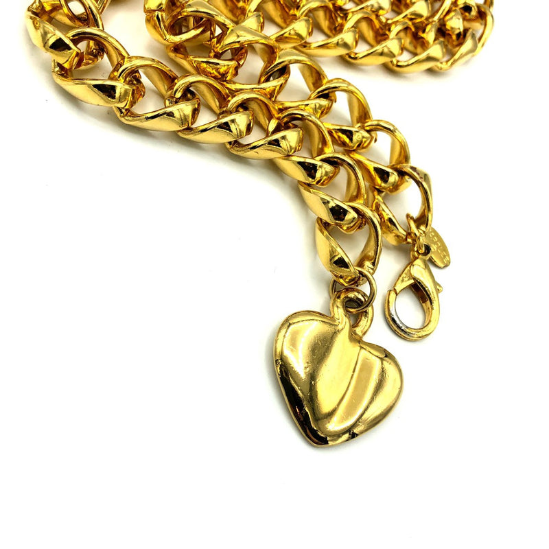 Carolee Gold Chain Heart Charm Vintage Belt-Sustainable Fashion with Vintage Style-Trending Designer Fashion-24 Wishes