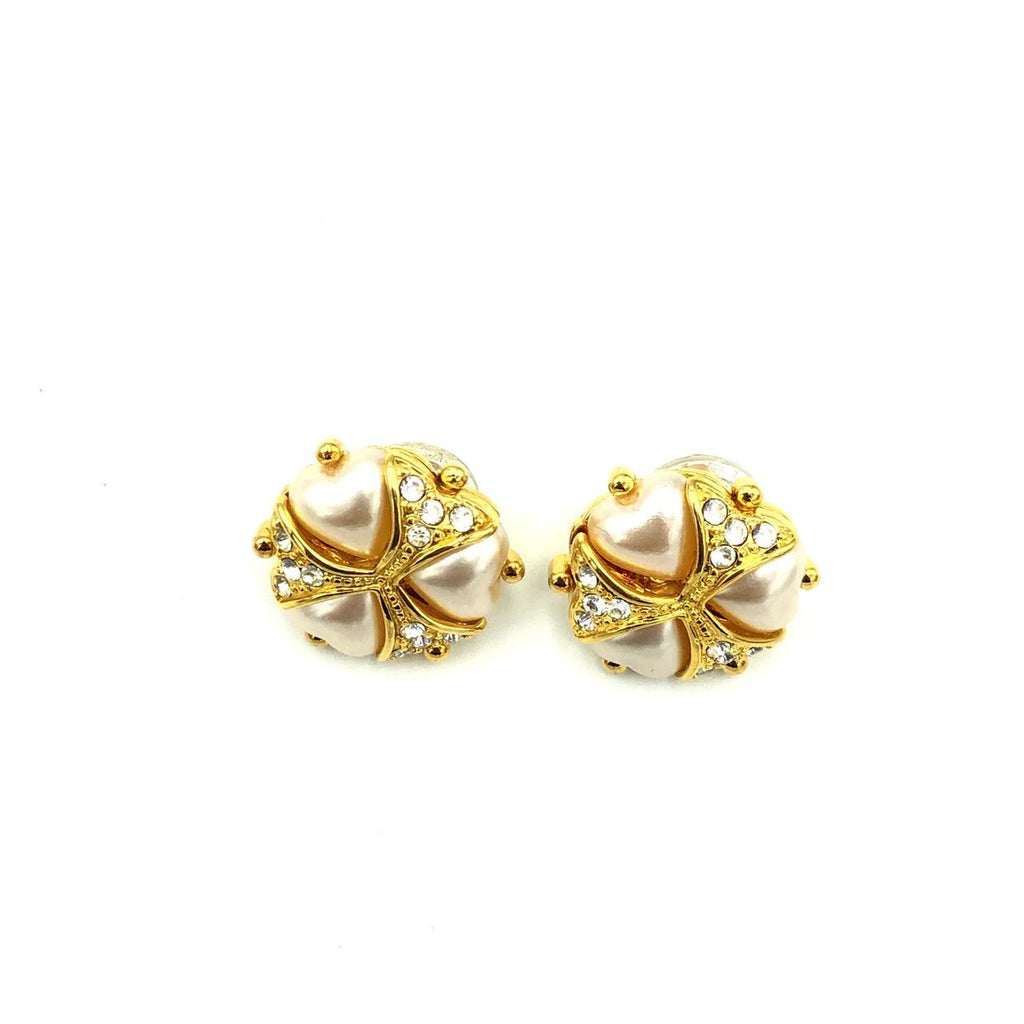 Joan Rivers White Pearlescent Hearts & Rhinestone Vintage Earrings