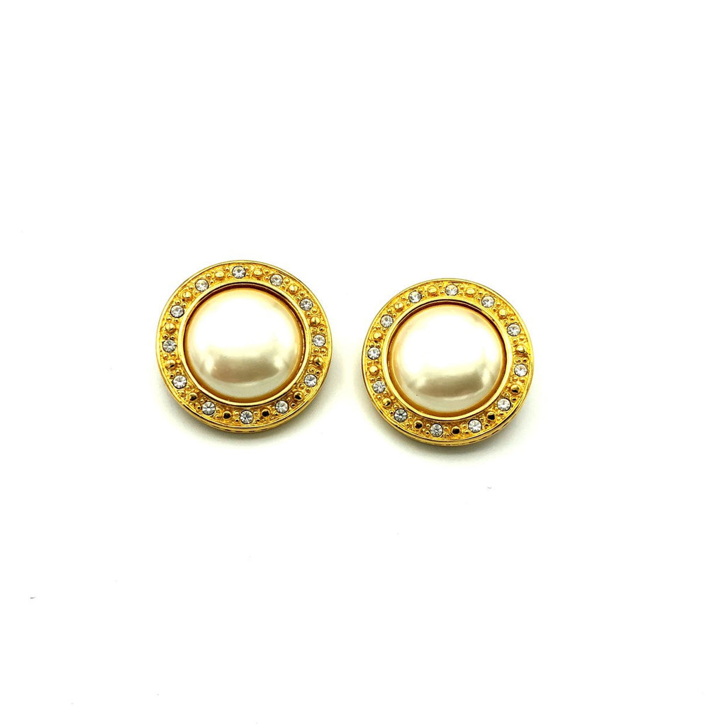 Liz Claiborne Gold Pearl & Rhinestone Classic Vintage Earrings