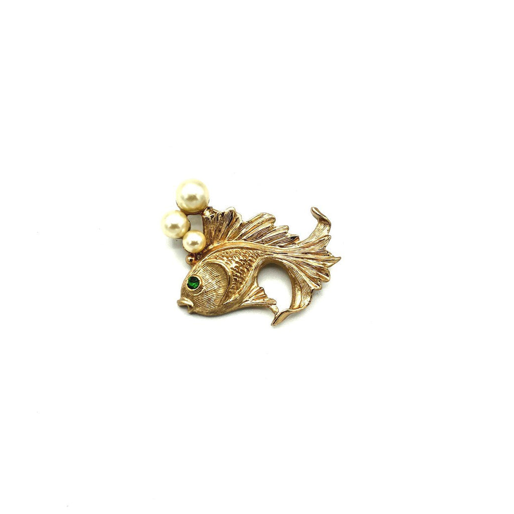 Napier Vintage Gold Fish With Pearl Bubbles Brooch