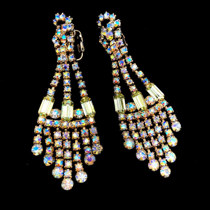 Citrine AB Rhinestone Chandelier Vintage Earrings-Sustainable Fashion with Vintage Style-Trending Designer Fashion-24 Wishes