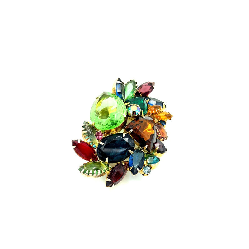 Large Multi-Color Layered Rhinestone Brooch-Sustainable Fashion with Vintage Style-Trending Designer Fashion-24 Wishes