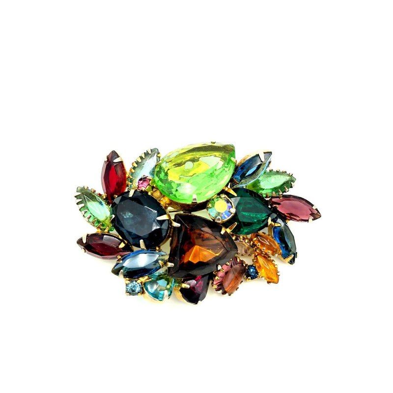 Large Multi-Color Layered Rhinestone Brooch