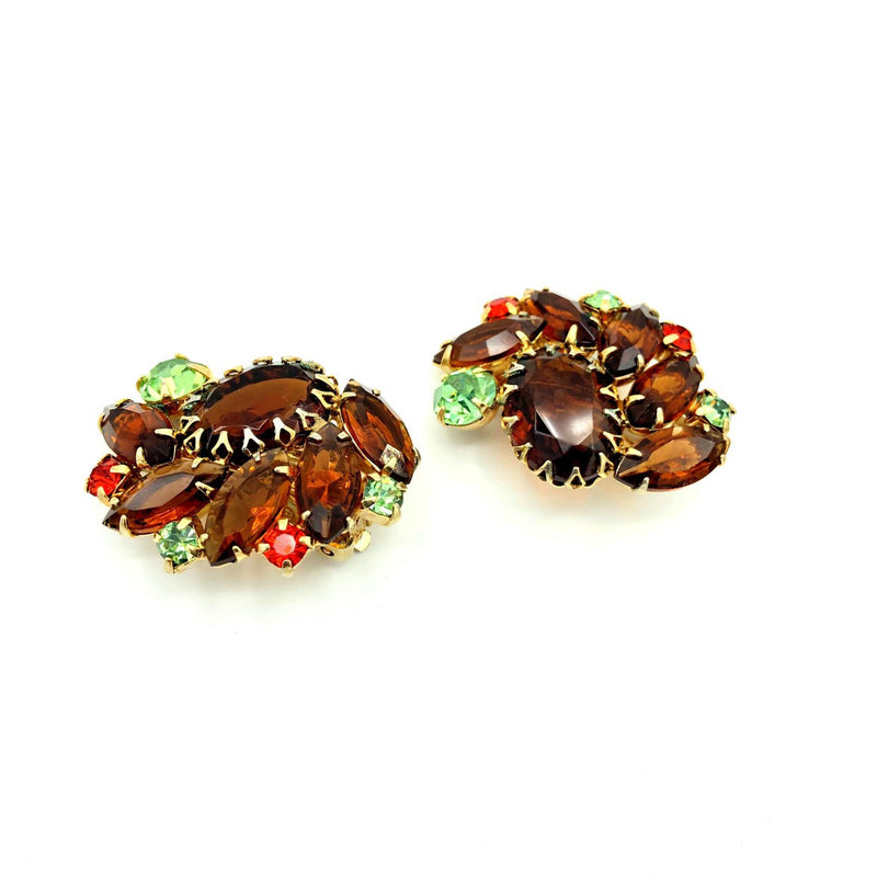 Juliana Delizza and Elster Brown Topaz Statement Rhinestone Earrings-Sustainable Fashion with Vintage Style-Trending Designer Fashion-24 Wishes