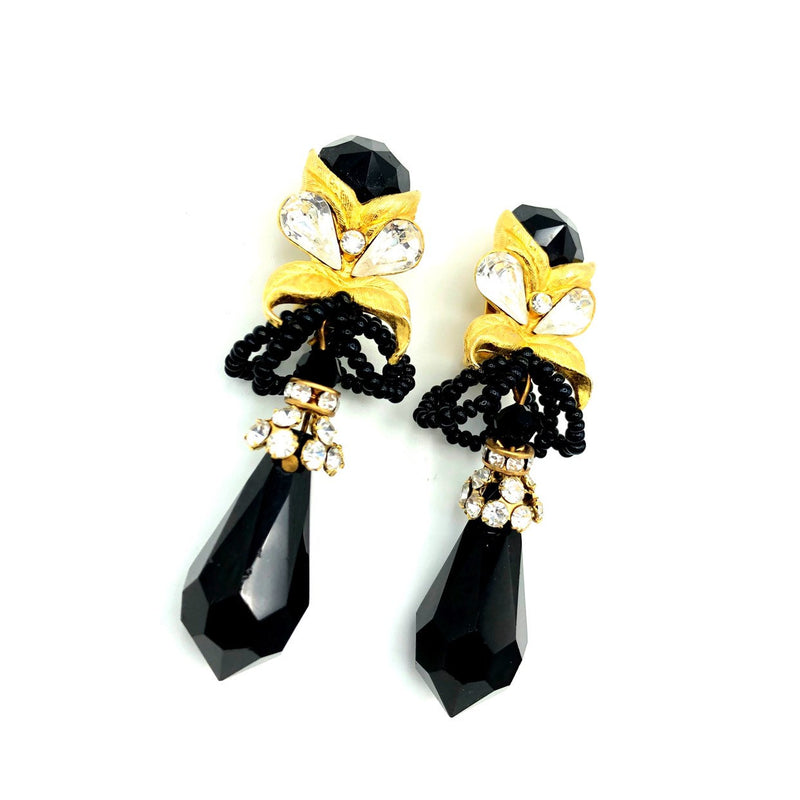 Vintage Lois Anne Black Crystal Dangle Earrings