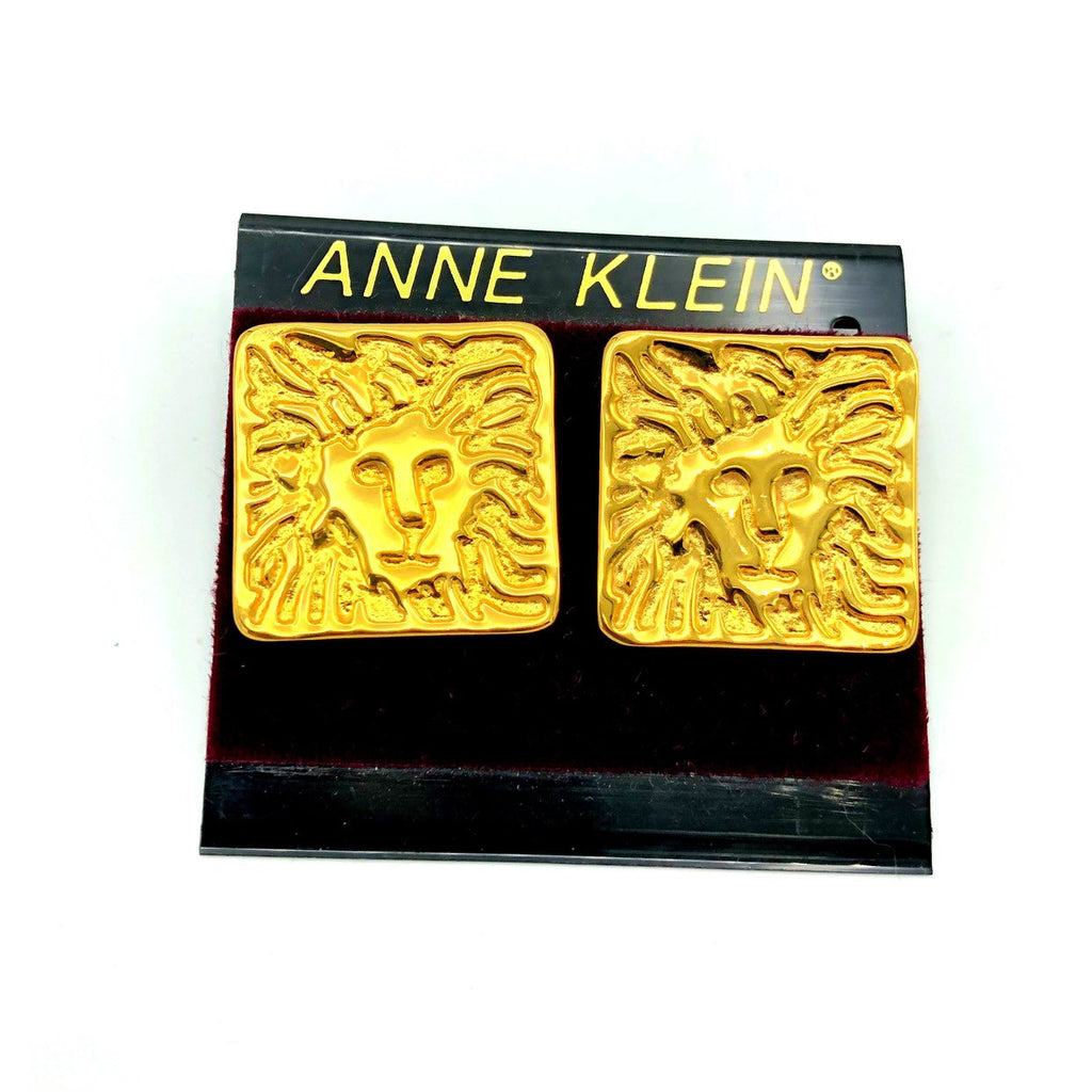 Anne Klein Gold Large Lion Logo Vintage Earrings