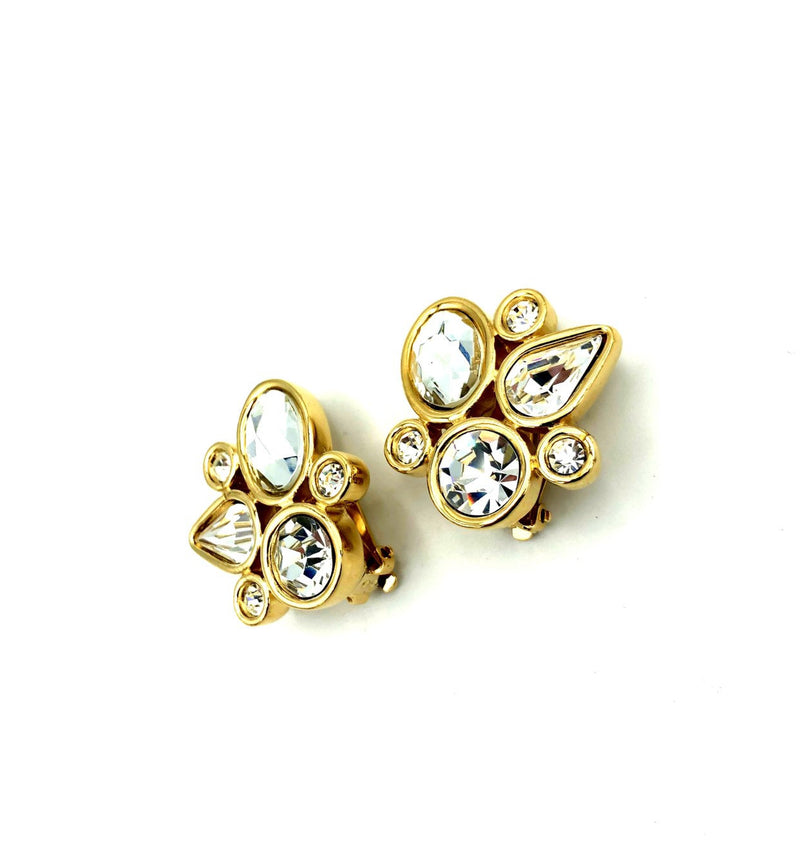 Givenchy Gold Geometric Rhinestone Vintage Earrings-Earrings-Givenchy-[trending designer jewelry]-[givenchy jewelry]-[Sustainable Fashion]