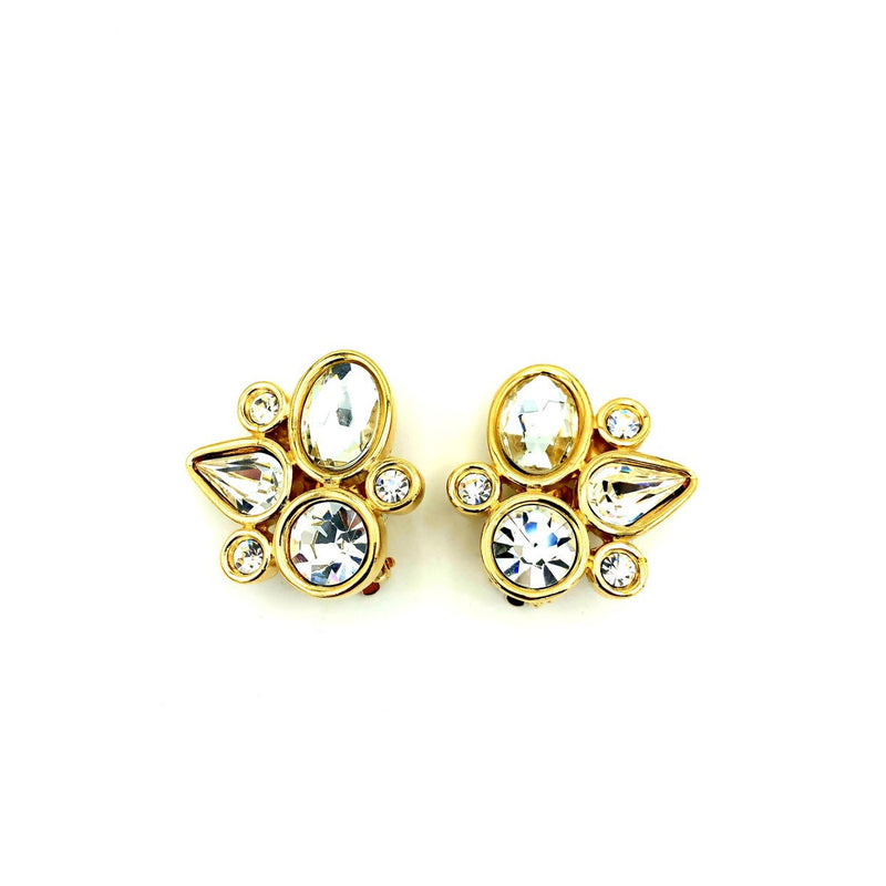 Givenchy Gold Geometric Rhinestone Vintage Earrings