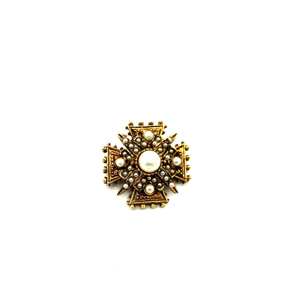 Classic Maltese Cross Vintage Gold Brooch By Art