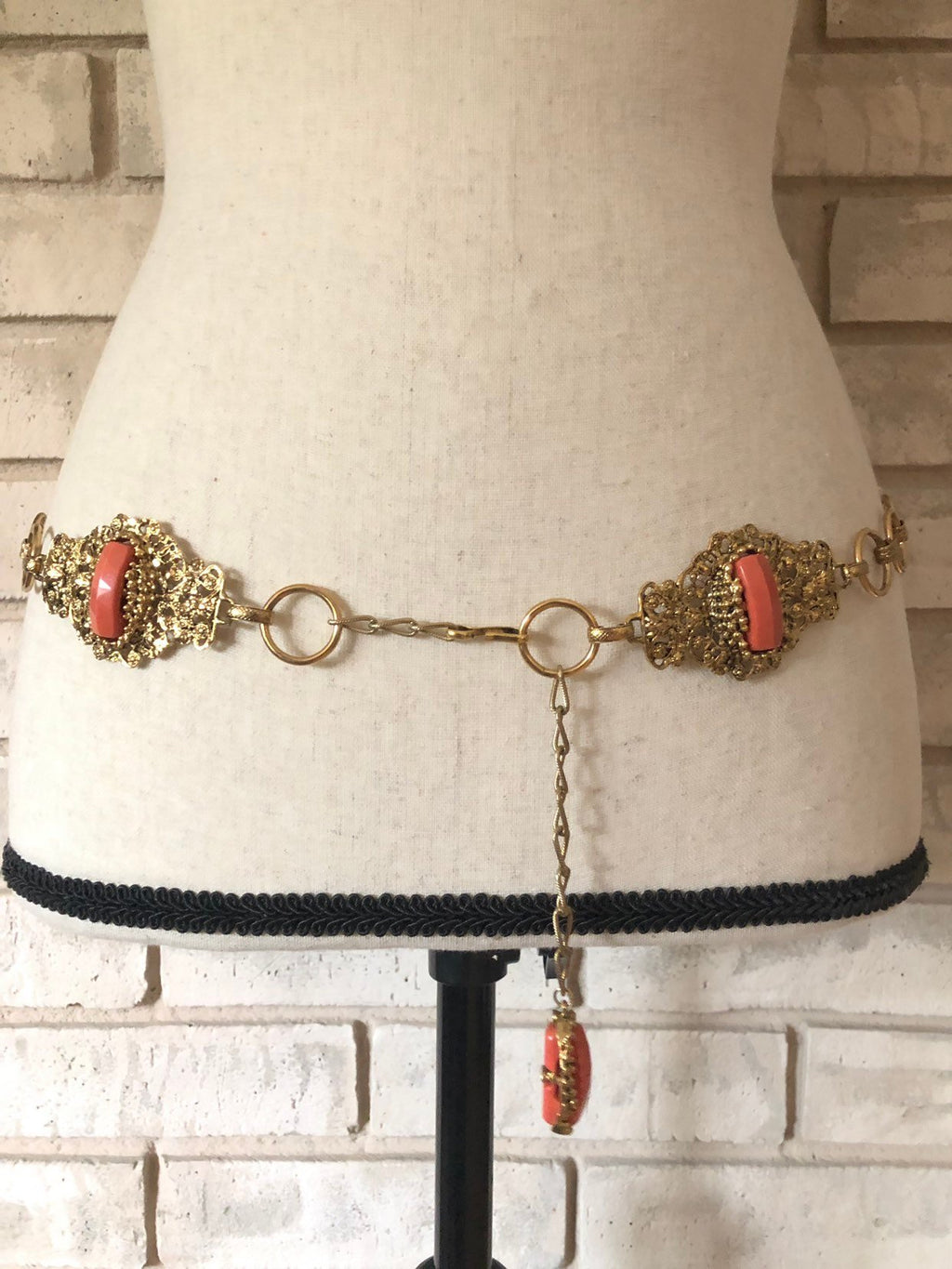Hollycraft Victorian Revival Coral Belt Gold Vintage Belt-Sustainable Fashion with Vintage Style-Trending Designer Fashion-24 Wishes