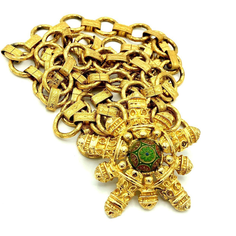 Etruscan Revival Floral Gold Chain Vintage Belt