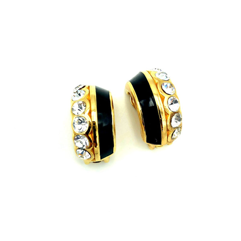 update alt-text with template Christian Dior Gold & Black Enamel Half Hoop Vintage Clip-On Earrings-Earrings-Christian Dior-[trending designer jewelry]-[christian dior jewelry]-[Sustainable Fashion]