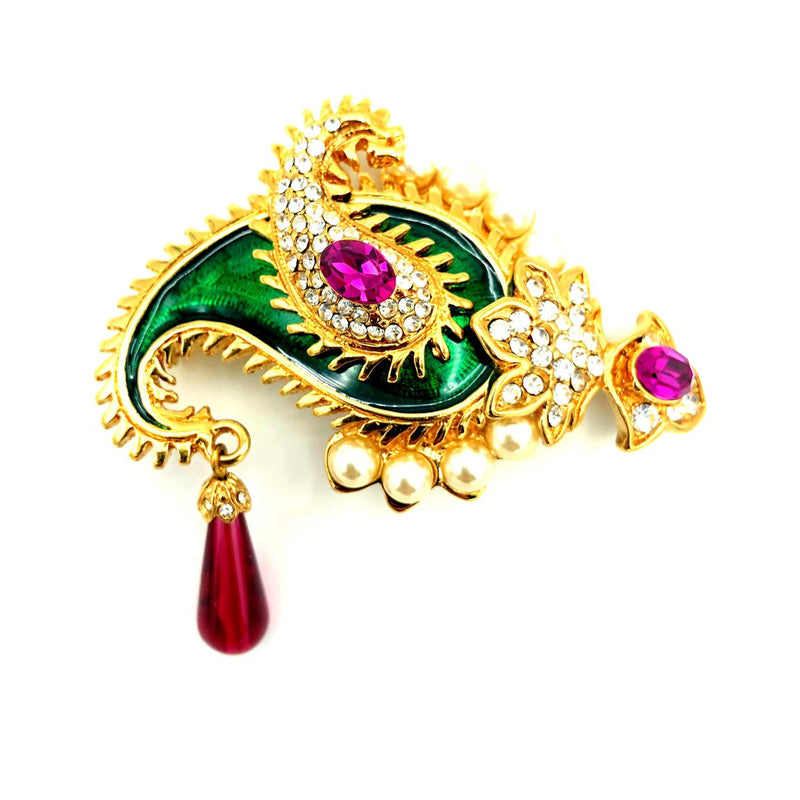 Kenneth Jay Lane Gold Maharini Paisley Vintage Brooch-Sustainable Fashion with Vintage Style-Trending Designer Fashion-24 Wishes