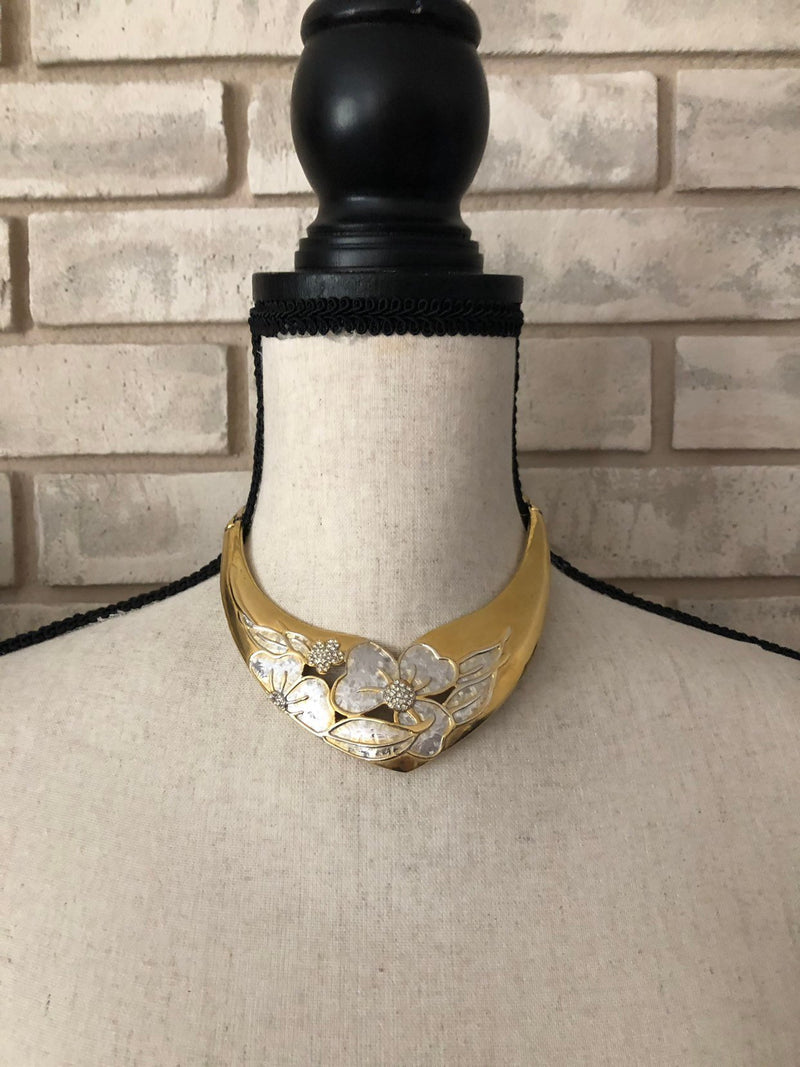 Vintage Gold Valentino Floral Bib Pendant-Sustainable Fashion with Vintage Style-Trending Designer Fashion-24 Wishes