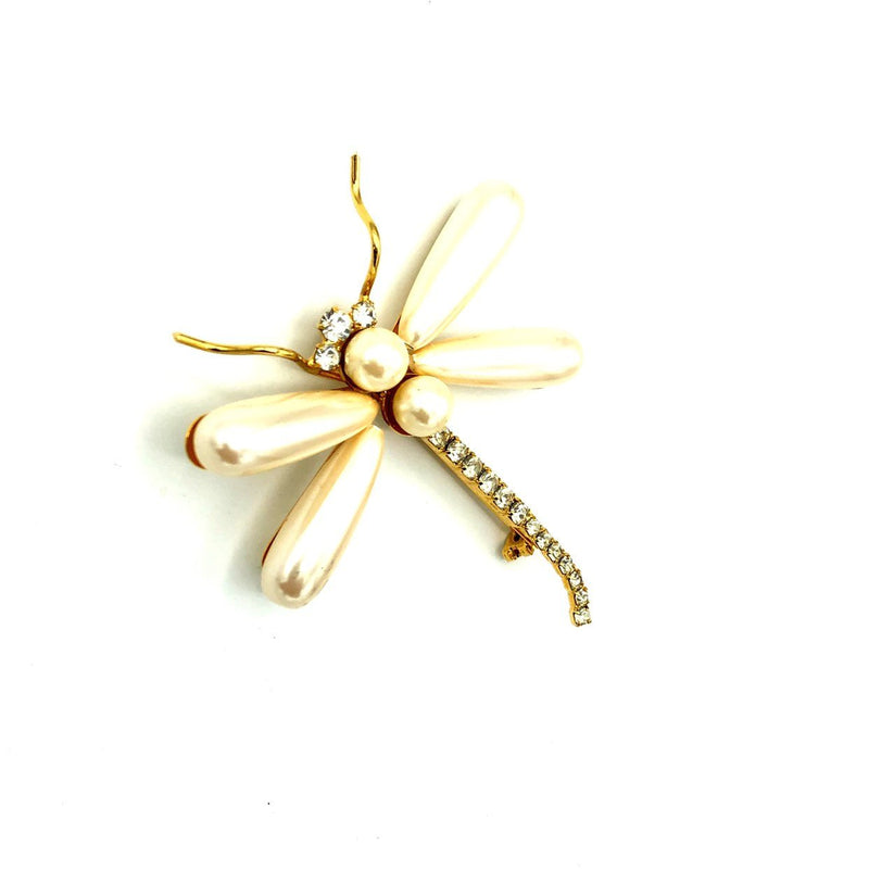 Gold Large White Pearl Dragonfly Vintage Brooch-Sustainable Fashion with Vintage Style-Trending Designer Fashion-24 Wishes