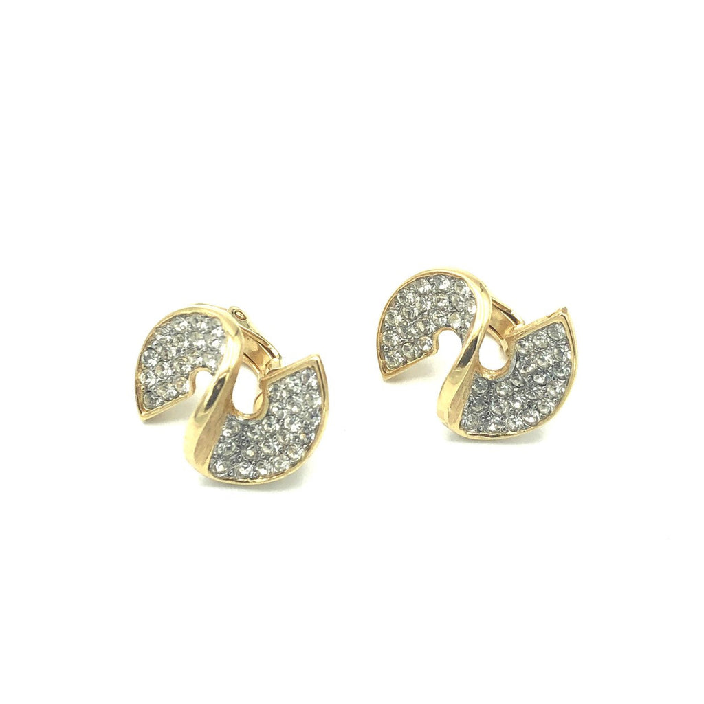 Givenchy Gold Swirl Rhinestone Petite Vintage Earrings