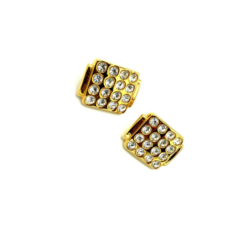 update alt-text with template Monet Gold Rhinestone Statement Vintage Earrings-Earrings-Monet-[trending designer jewelry]-[monet jewelry]-[Sustainable Fashion]