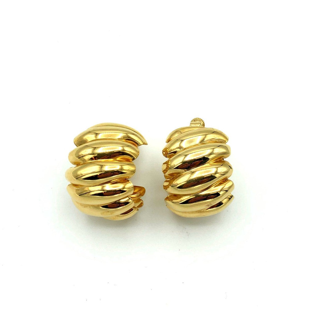 update alt-text with template Napier Gold Scallop Chunky Hoop Vintage Earrings-Earrings-24 Wishes-[trending designer jewelry]-[napier jewelry]-[Sustainable Fashion]