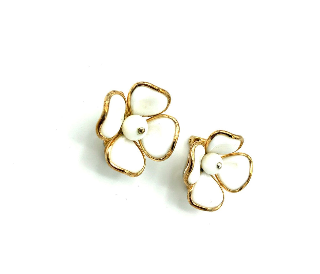 Crown Trifari White Glass Dogwood Vintage Earrings-Sustainable Fashion with Vintage Style-Trending Designer Fashion-24 Wishes