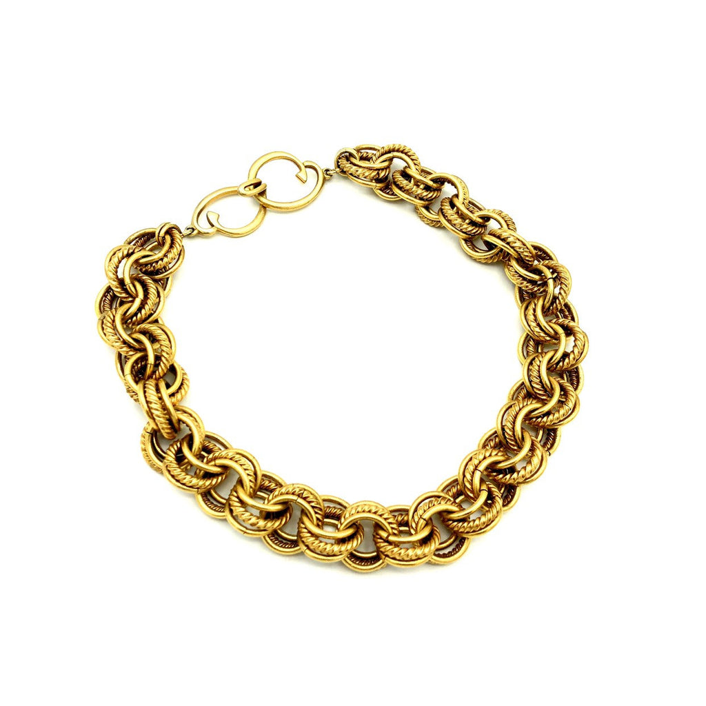 Oscar De La Renta Gold Triple Link Chain Necklace