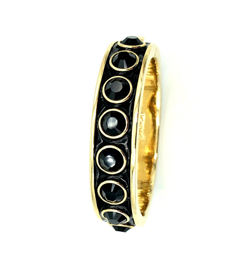 Givenchy Black Enamel & Rhinestone Vintage Hinged Bangle Bracelet-Bracelets-24 Wishes-Vintage Givenchy Jewelry