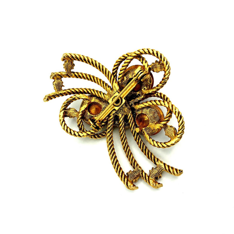Vintage Gold Textured Bow Pink Rivoli Rhinestone Brooch-Sustainable Fashion with Vintage Style-Trending Designer Fashion-24 Wishes