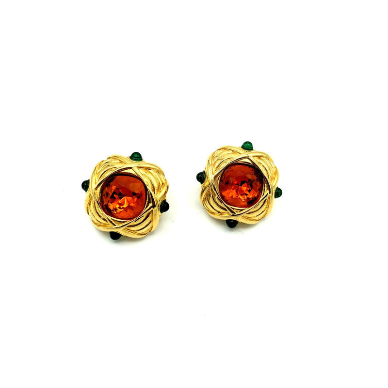Nolan Miller Gold Amber Rhinestone Vintage Earrings