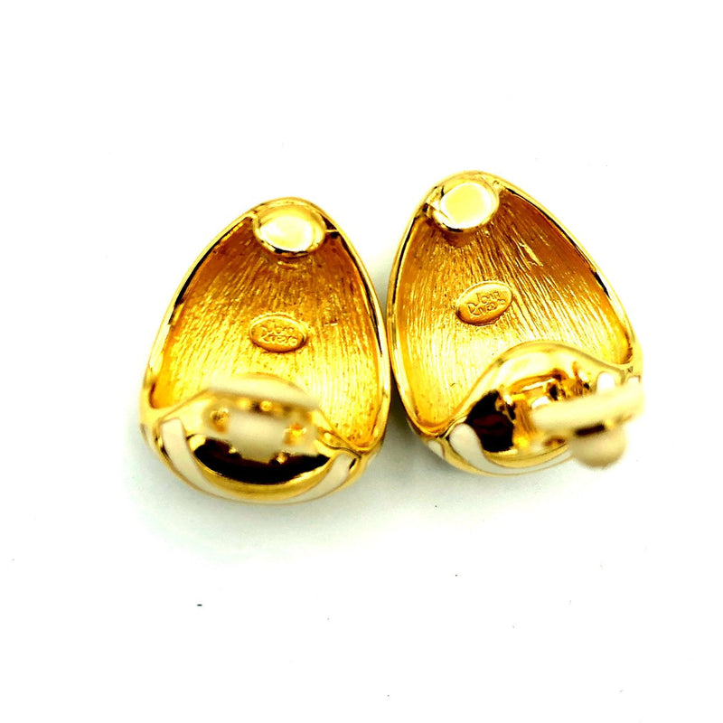 Classic Joan Rivers Gold Animal Print Vintage Earrings