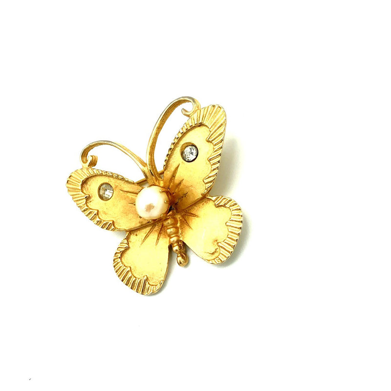 Gold Marvella Petite Butterfly Vintage Brooch Pin-Sustainable Fashion with Vintage Style-Trending Designer Fashion-24 Wishes