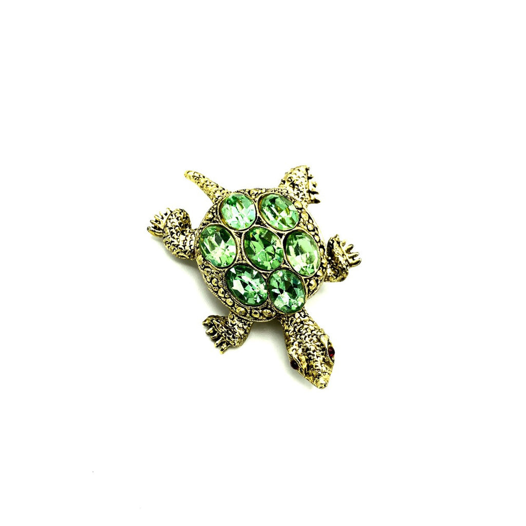 Vintage Green Rhinestone Turtle Brooch Pin-Sustainable Fashion with Vintage Style-Trending Designer Fashion-24 Wishes