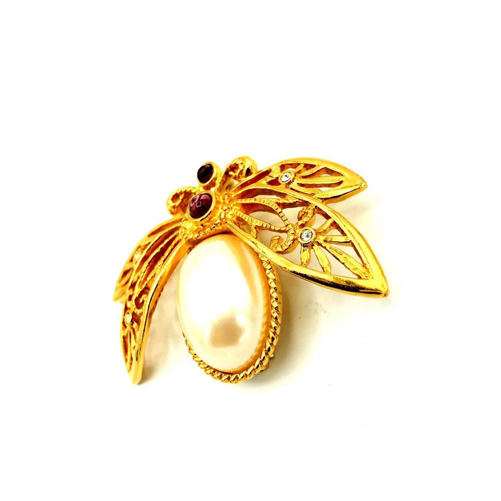 Avon Gold Large Pearl Bee Brooch