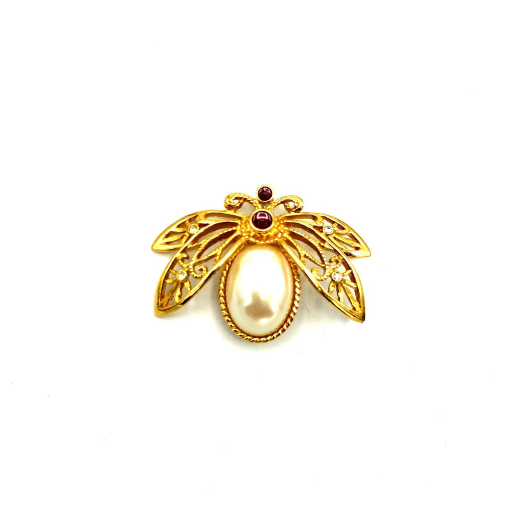 Avon Gold Large Pearl Bee Brooch-Sustainable Fashion with Vintage Style-Trending Designer Fashion-24 Wishes