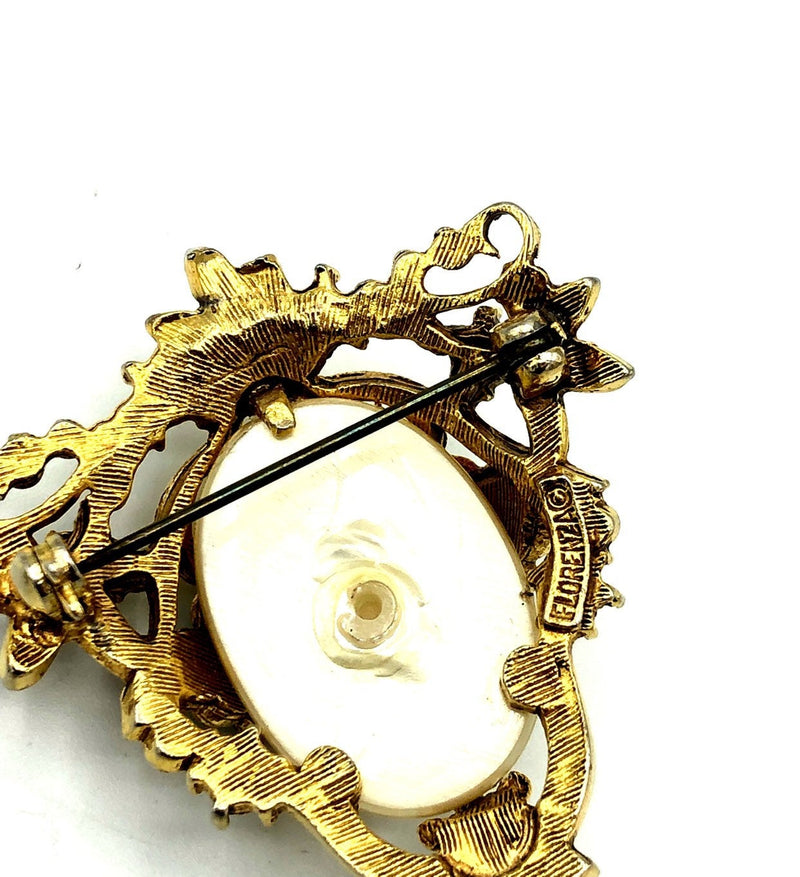 Florenza White Pearl & Turquoise Victorian Revival Vintage Brooch-Sustainable Fashion with Vintage Style-Trending Designer Fashion-24 Wishes