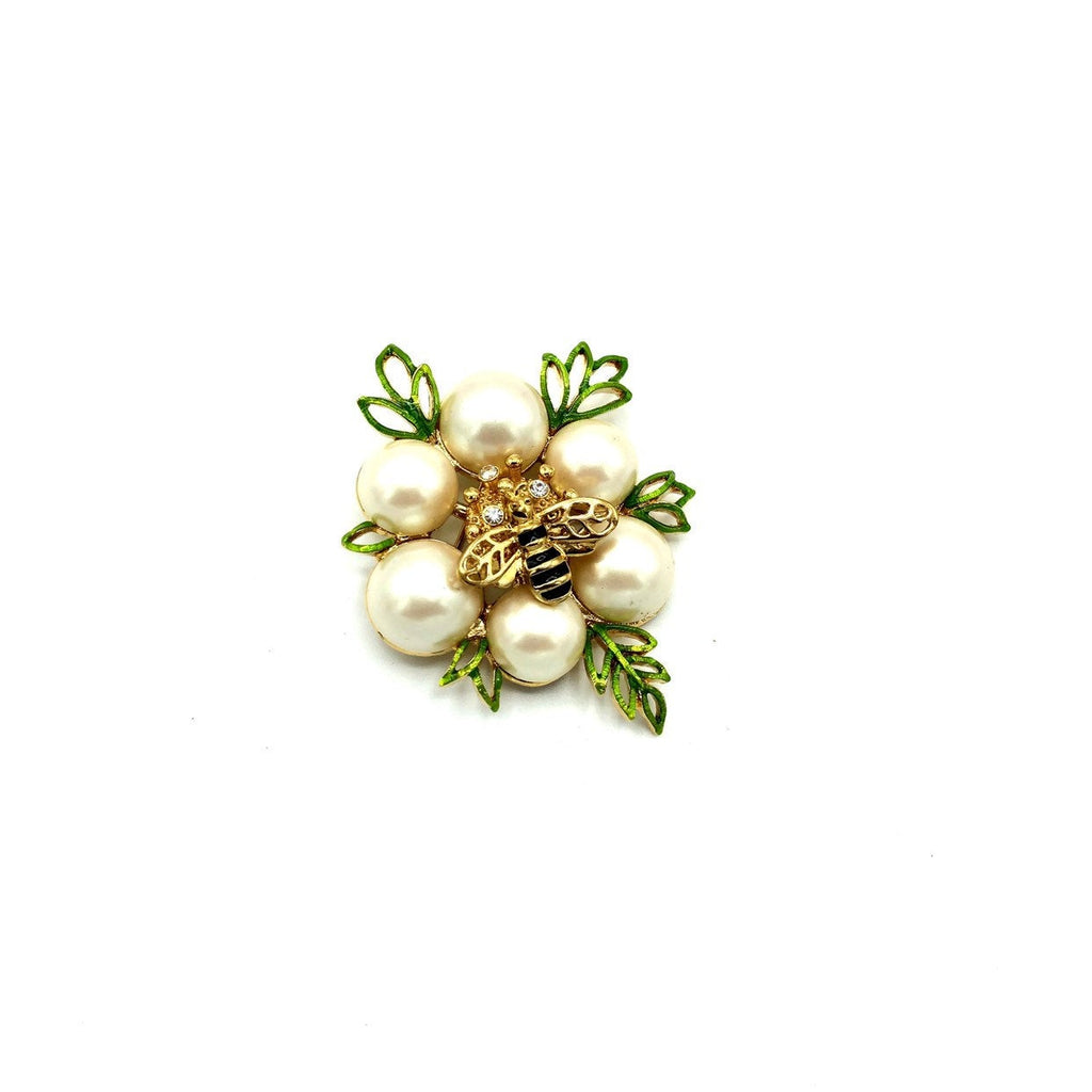Monet White Pearl Bee Vintage Brooch