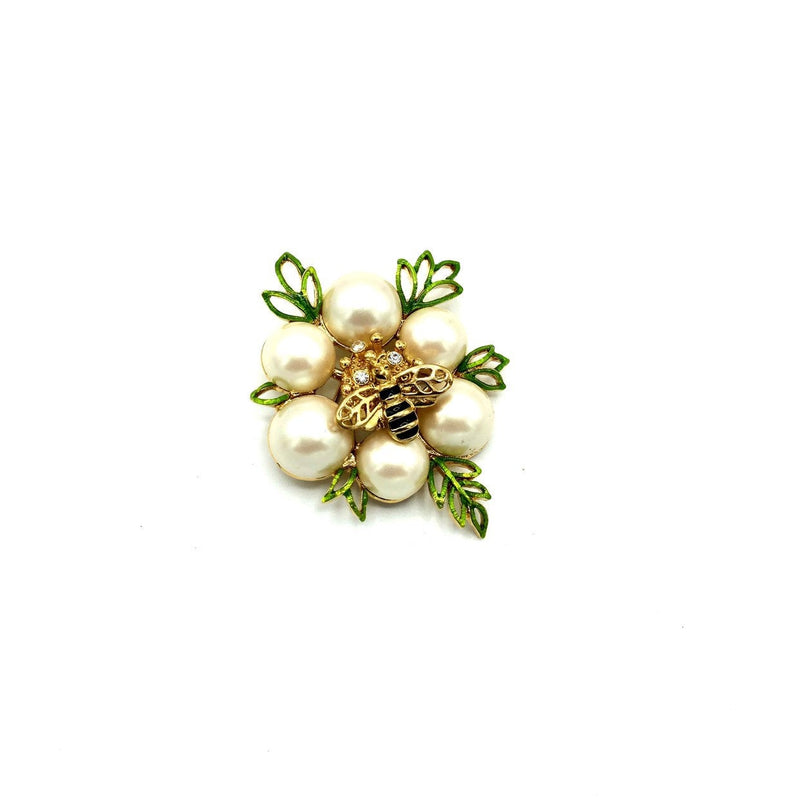 update alt-text with template Monet White Pearl Bee Vintage Brooch-Brooches & Pins-Monet-[trending designer jewelry]-[monet jewelry]-[Sustainable Fashion]