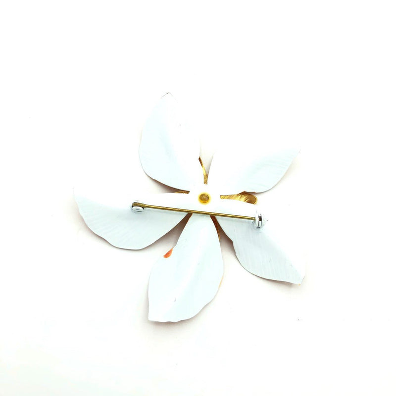Orange Peach Enamel Flower Vintage Brooch-Sustainable Fashion with Vintage Style-Trending Designer Fashion-24 Wishes