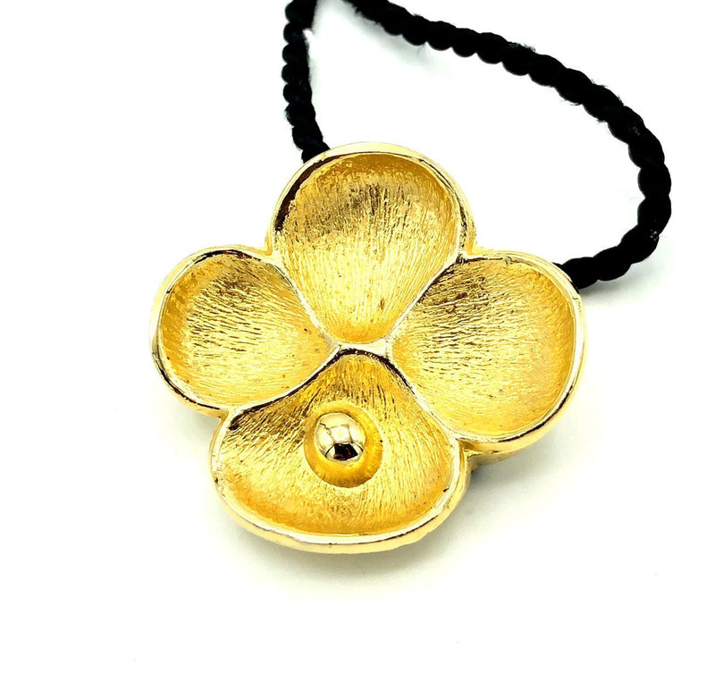 Gold Oscar de la Renta Flower Perfume Diffuser Vintage Pendant-Necklaces & Pendants-24 Wishes