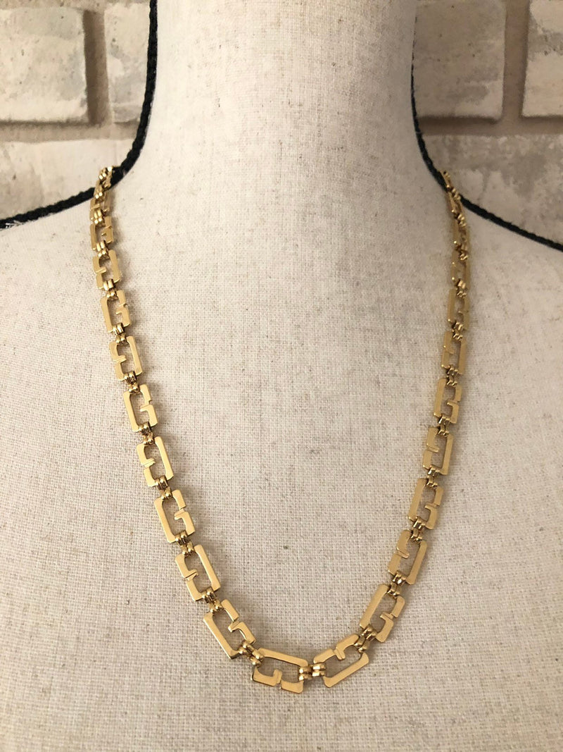 Gold Classic Givenchy Logo Long Chain Necklace