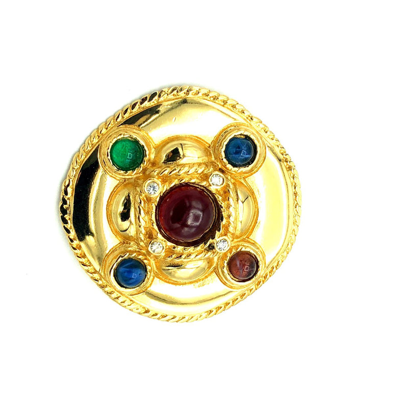 Givenchy Cabochon Glass Classic Gold Brooch-Brooches & Pins-24 Wishes-Vintage Givenchy Jewelry