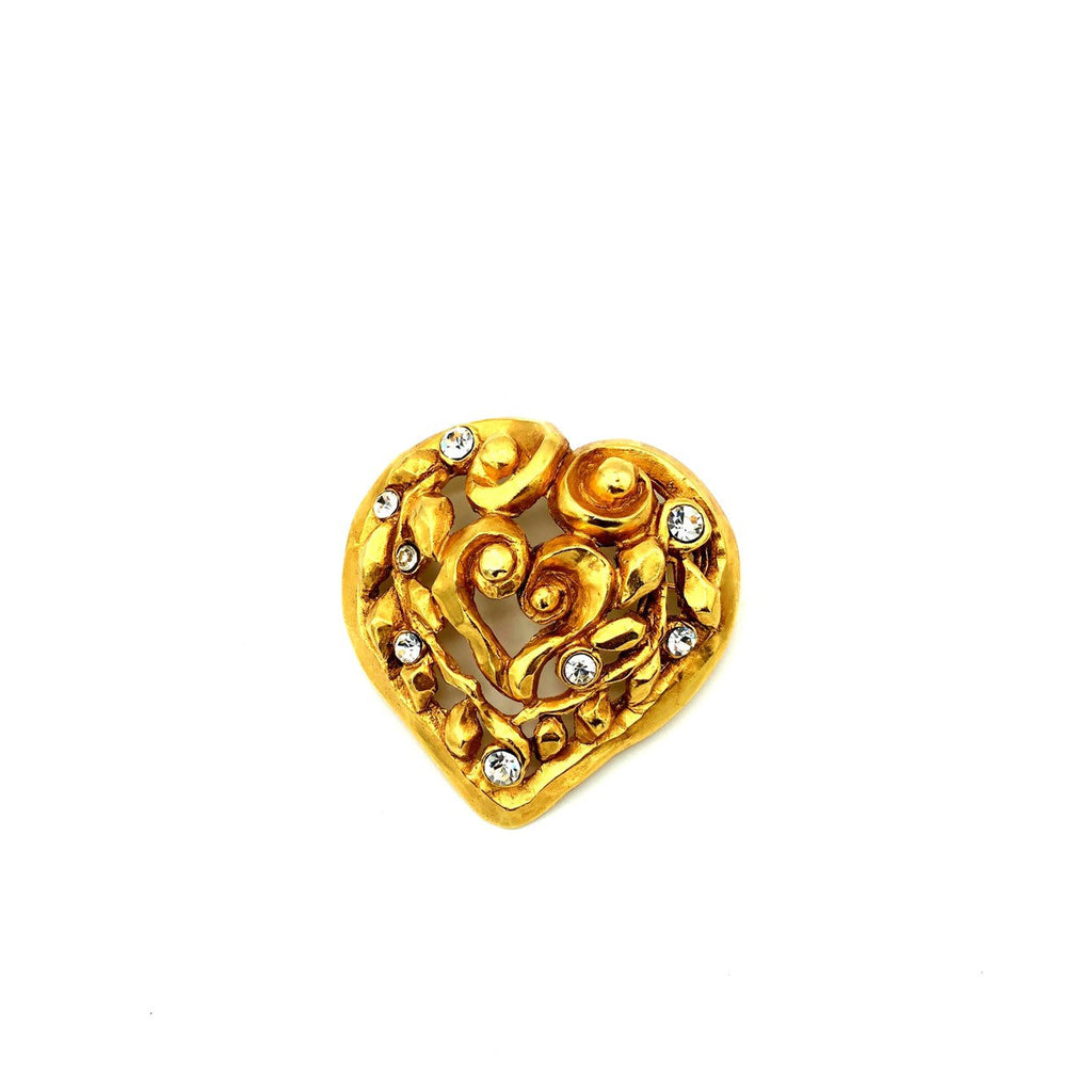 Christian Lacroix Gold Large Abstract Heart Vintage Brooch