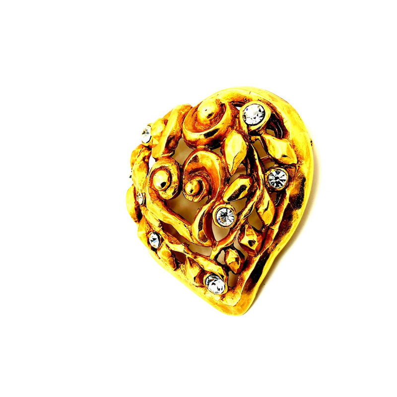 Christian Lacroix Gold Large Abstract Heart Vintage Brooch-Sustainable Fashion with Vintage Style-Trending Designer Fashion-24 Wishes