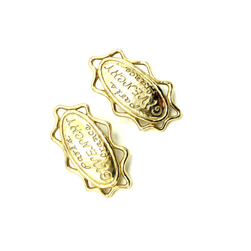 Givenchy Gold Logo Paris France Pierced Earrings-Sustainable Fashion with Vintage Style-Trending Designer Fashion-24 Wishes