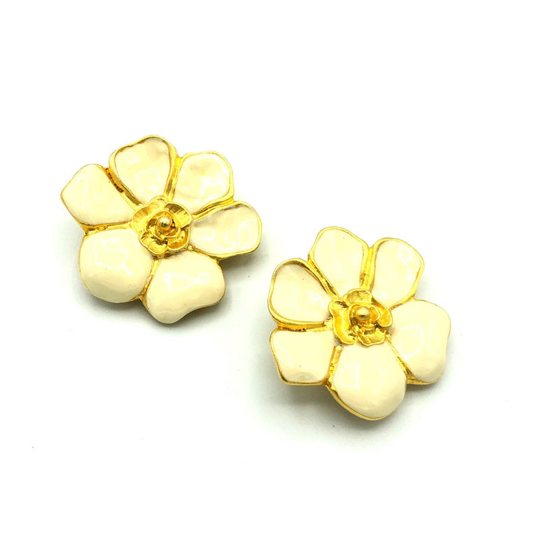 Vintage M. JENT Large Gold Cream Enamel Flower Earrings-Sustainable Fashion with Vintage Style-Trending Designer Fashion-24 Wishes