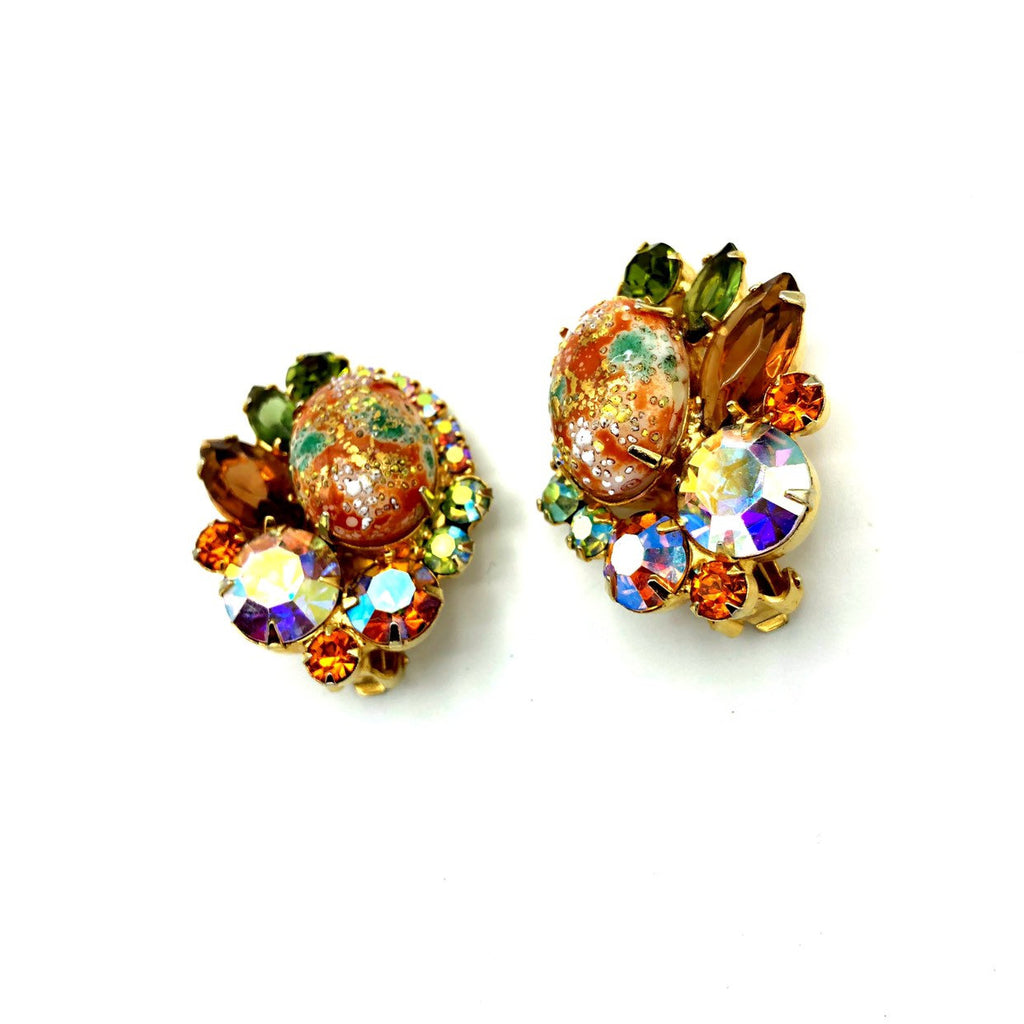 Juliana Delizza and Elster Orange With Green Rhinestone Statement Earrings