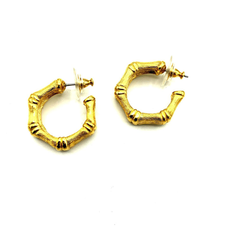 update alt-text with template Monet Gold Bamboo Hoop Vintage Earrings-Earrings-Monet-[trending designer jewelry]-[monet jewelry]-[Sustainable Fashion]