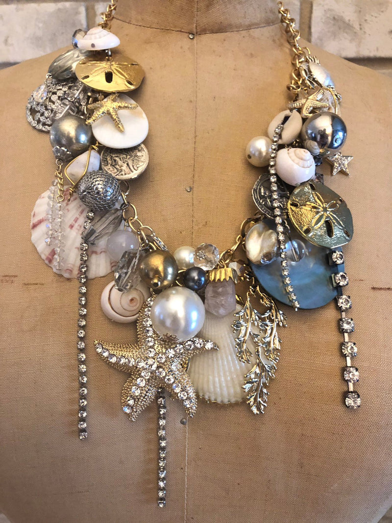Upcycled Seashell Starfish Charm Pendant-Necklaces & Pendants-24 Wishes