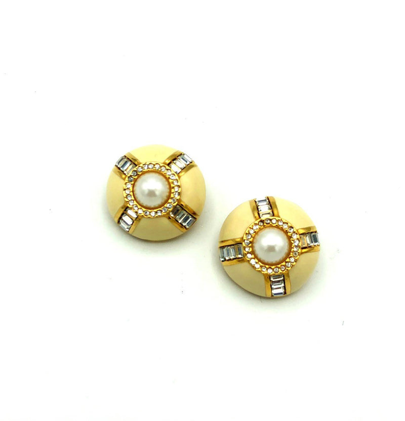 Gold St. John Round Enamel Pearl Vintage Earrings