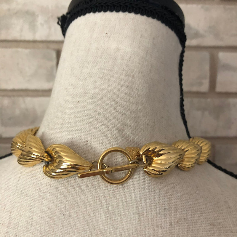 Anne Klein Classic Gold Heart Link Necklace-Sustainable Fashion with Vintage Style-Trending Designer Fashion-24 Wishes